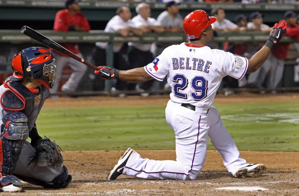 Texas third baseman Adrian Beltre collects his 3000th hit when he doubles in the fourth inning in the Rangers' 10-6 loss to the Orioles at Globe Life Park in Arlington. The twenty-year veteran, who has also spent time with the Dodgers, Mariners, and the Red Sox, is the first-ever Dominican-born player to reach the coveted milestone.