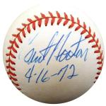 "Burt Hooton Autographed Official NL Baseball Los Angeles Dodgers, Chicago Cubs ""4-16-72"" Beckett BAS #F29101 - Beckett Authentication"