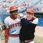 CESAR CEDENO HOUSTON ASTROS W/ LEO DUROCHER ACTION SIGNED 8x10