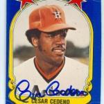 Cesar Cedeno autographed baseball card (Houston Astros) 1981 Fleer Star Stickers #35