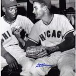 DAVE HILLMAN CHICAGO CUBS W/ ERNIE BANKS ACTION SIGNED 8x10