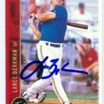Lance Berkman autographed baseball card (Jackson Generals, Houston Astros) 1999 Just Minors #11