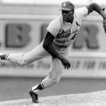 bob gibson Bob Gibson becomes the seventh pitcher in National League history to strike out the side on nine pitches.