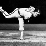 Nolan Ryan of the California Angels pitches his third career no-hitter