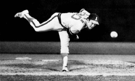 Nolan Ryan of the California Angels hurls the first of his seven career no-hitters