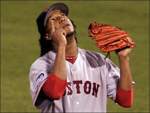 Seven months before a November deadline, theBoston Red Soxexercise their2004contractoptiononPedro Martinez