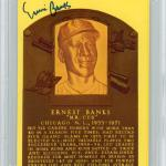 Ernie Banks Autographed HOF Plaque Postcard Chicago Cubs Signed Three Times Beckett BAS #10983132 - Beckett Authentication