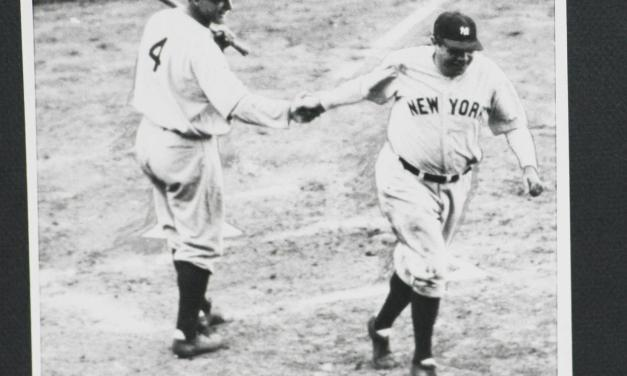 Babe Ruth of the New York Yankees hits his 500th home run