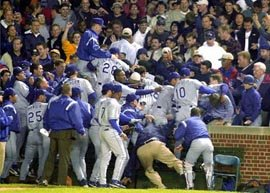 Dodgers go into the stands at Wrigley Field