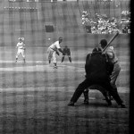 Cleveland Stadium, 7/21/49, Satchel Paige pitching in relief, SS behind Paige is Ray Boone