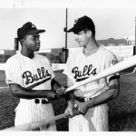 Durham Bulls 2B Joe Morgan (L) at Durham Athletic Park, 1963. Not sure who the other guy is.