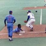 Andre Dawson of the Chicago Cubs steals his 300th base in an 11 - 5 loss to the New York Mets