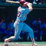 Philadelphia Phillies first baseman Mike Schmidt sets the team record by playing in his 1,795th game