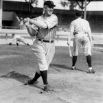 Tris Speaker, player-manager for the Indians, takes some swings