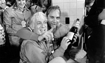 Johnny Bench and Sparky celebrate 1975 World Series Championships