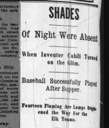 Night game experiment 1909