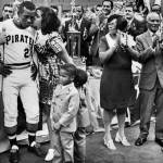 During batting practice, a little boy in the right-field stands was hit in the arm by a line drive. He then hid among the seats to have his little cry. Clemente retrieved the ball and gave it away, his thanks coming in a puddle of tears.""