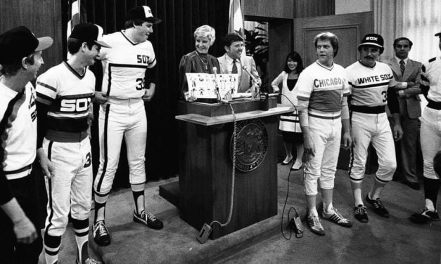 Chicago Mayor Jane Byrne casts the first ballot at City Hall to select a new White Sox uniform