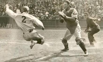 Phillies' Dick Bartell attempting an inside-the-park home run, baring down on Cubs catcher Gabby Hartnett at the Baker Bowl, 9/17/1932.