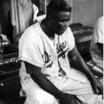Jackie Robinson after a game, May 12, 1955.