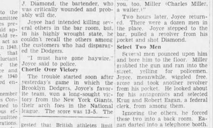 Robert Joyce kills 1 and wound's another defending the Brooklyn Dodgers