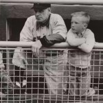 Leo Durocher & son stare intently at the action during 1955 spring training