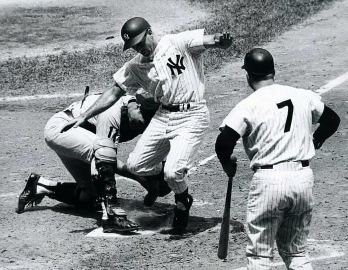 '65 Yankees Bobby Richardson is tagged out by Tigers C Bill Freehan as Mickey Mantle looks on.