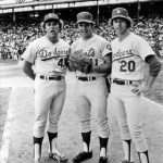 A trio of National League righthanded starters (Andy Messersmith, Tom Seaver, and Don Sutton) pose together prior to the 1975 All-Star Game in Milwaukee.