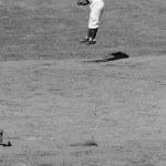 Jackie Robinson plays his only game at shortstop