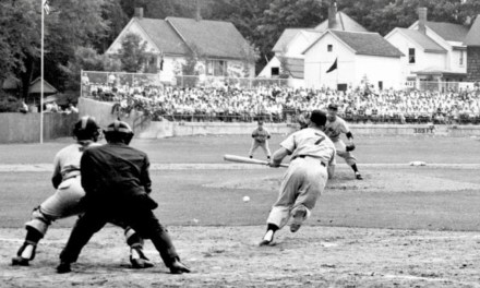 Mickey Mantle dragging a bunt at Cooperstown HOF game in 1954.