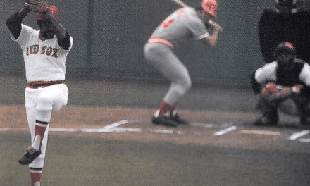 Luis Tiant pitching to Pete Rose in the 1975 World Series. Tiant wins the opening game 6-0.