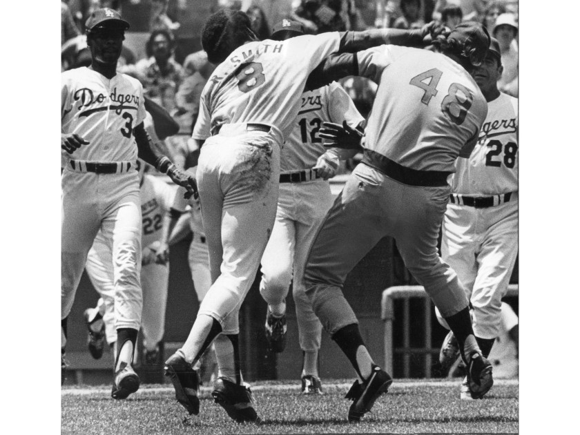 Reggie Smith insites a fathers day brawl at Dodger Stadium
