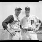 Cincinnati Reds pitcher Joey Jay and Detroit Tigers pitcher Jim Bunning pose on the field prior to the 1961 All-Star Game at Fenway Park.