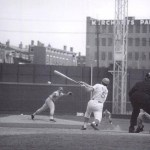 Johnny Bench batting against the Cardinals at Crosley Field.