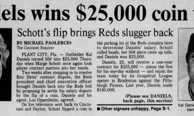 Marge Schott settles a salary dispute with outfielder Kal Daniels by flipping a coin