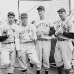Joe DiMaggio, Jimmie Foxx, Ted Williams, and Bill Dickey. Spring training in Florida - 1940.