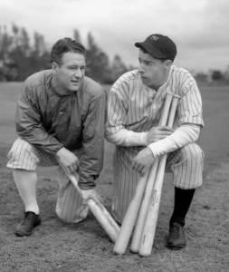 Lou Gehrig and Joe DiMaggio during spring training in St. Petersburg, FL.
