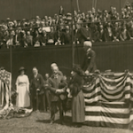 During an impressive Memorial Day ceremony at the Polo Grounds, Eddie Grant Memorial, erected in memory of a former Giants player killed in World War I