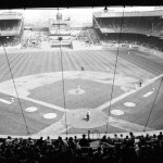 Hank Aaron hits only the 3rd homersun into centerfield bleachers at the polo grounds