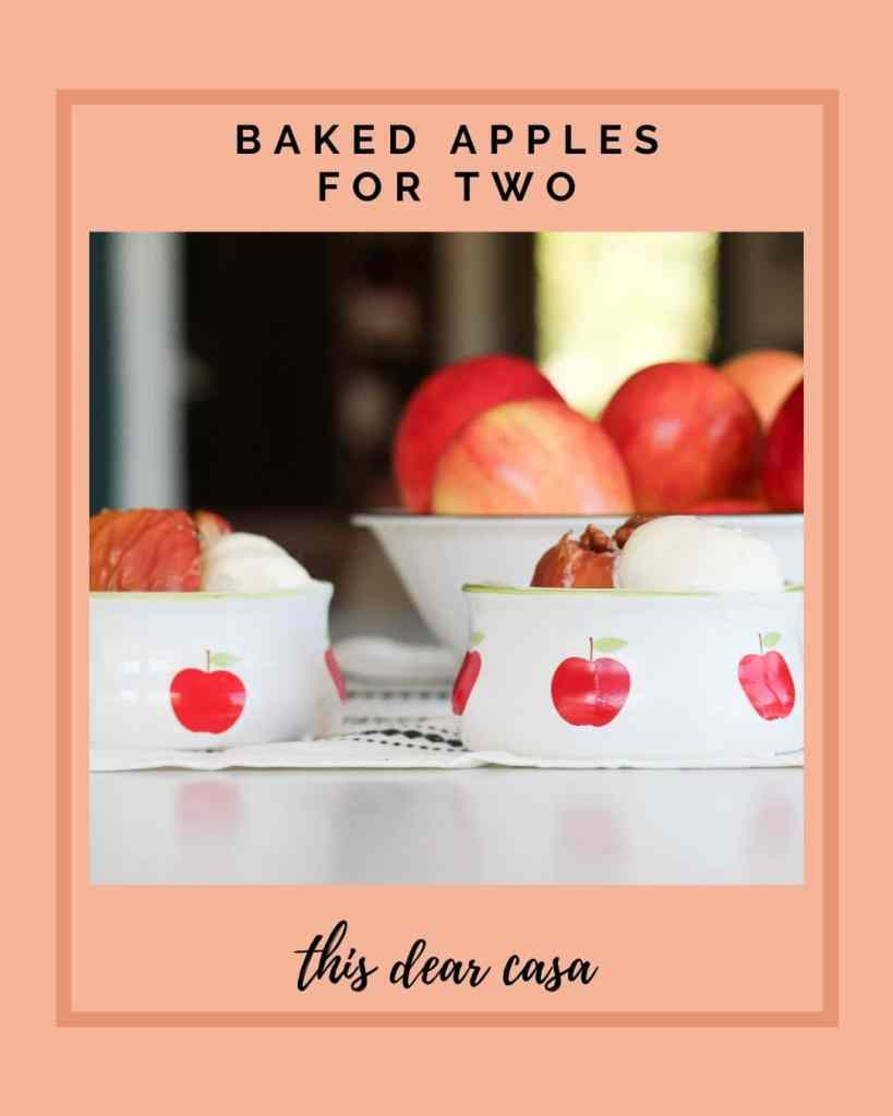 Baked apples in bowls with red apple graphics.