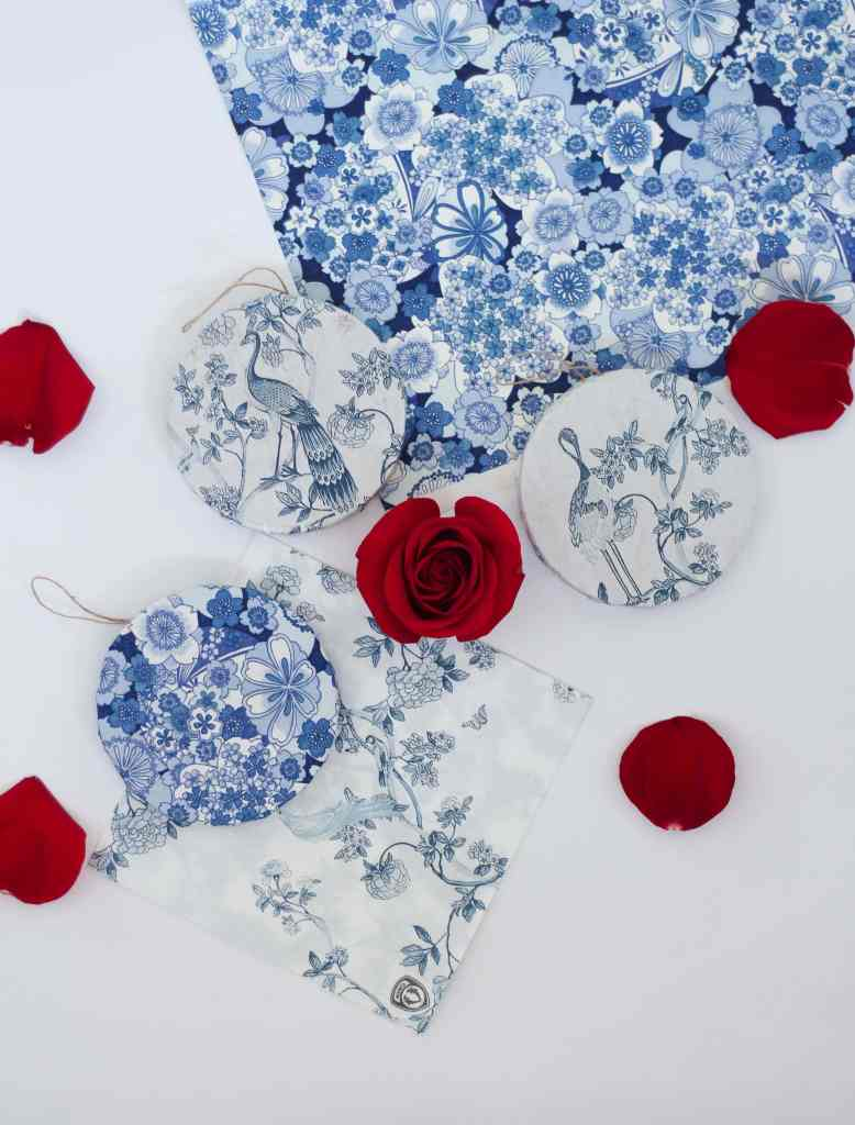 diy blue and white grand millenial ornaments