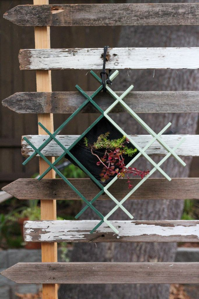 Dark green and light green square shaped planter with succulents hanging on a privacy screen.