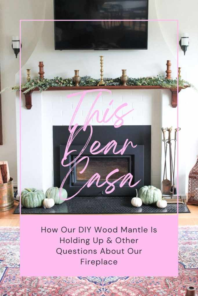 Tudor Revival fireplace remodel. Television over dark wood mantle.