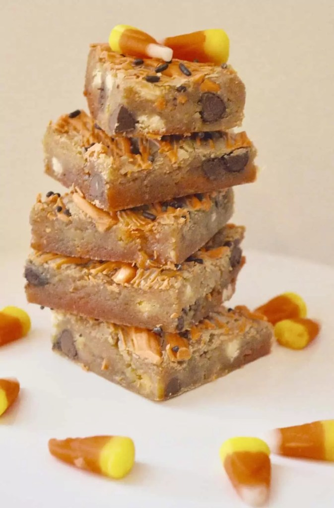 Candy Corn Blondies Bars with white chocolate and chocolate chips