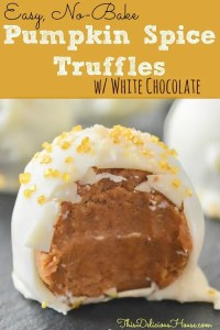 pumpkin spice truffle with white chocolate coating