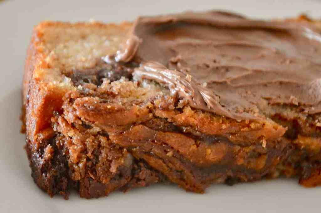 Nutella Banana Bread with Nutella spread on top