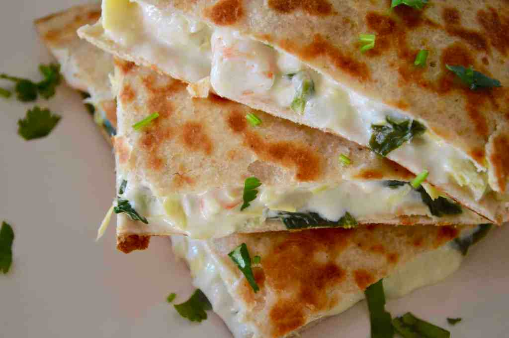 Spinach and Artichoke Shrimp Quesadillas