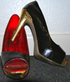 black shoes gold heels