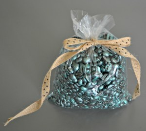 Wrap metallic coffee beans in cellophane and give as a gift