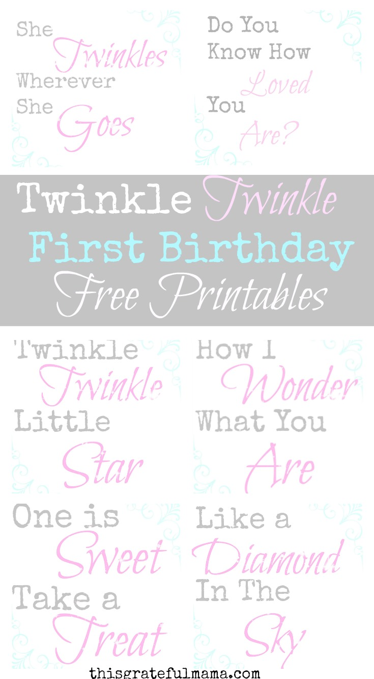 Twinkle Twinkle Little Star First Birthday Free Printables | thisgratefulmama.com  1st Birthday Party decorations and ideas including photo banner, free printable decorations, great for a little girl or boy birthday party! #birthday #birthdayparty #party #decoration #birthdaydecoarations #paperdecorations #free #printable #freeprintable #twinkletwinkle #star #girlbirthday #1stbirthday #firstbirthday #decorate #paperdecoration